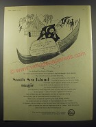 1955 ICI Imperial Chemical Industries Ad - South Sea Island magic