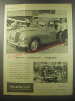 1955 Sunbeam 2 1/4 litre Sports Saloon Ad - speed.. Endurance.. Elegance