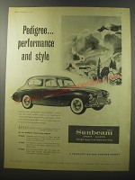 1955 Sunbeam Mark III Sports Saloon Ad - Pedigree.. Performance and style