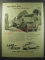 1955 Land Rover 107 Wheelbase Pick-up Truck Ad - Four-wheel drive takes loads