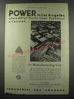 1930 Bureau of Power and Light City of Los Angeles Ad - Power in Los Angeles