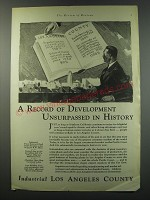 1930 Los Angeles Chamber of Commerce Ad - A record of development unsurpassed