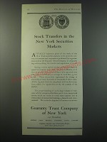 1930 Guaranty Trust Company of New York Ad - Stock transfers in the New York