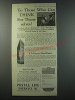 1930 Postal Life Insurance Ad - To those who can think for themselves