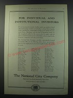 1930 The National City company Ad - For individual and institutional investors