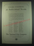 1930 The National City company Ad - Suitable investments for individual needs