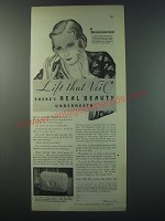 1930 Woodbury's Facial Soap Ad - Lift that veil there's real beauty underneath