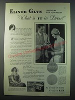 1930 Lux Detergent Ad - Elinor Glyn answers the question what is it in dress?