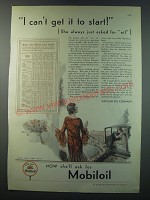 1930 Mobil Mobiloil Ad - I can't get it to start