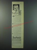 1930 Gerber's Strained Vegetables Ad - Baby can travel this summer