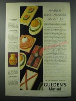 1930 Gulden's Mustard Ad - Appetizers Bridge Sandwiches Tea Dainties