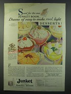 1930 Junket Powder Ad - Send for the new Junket book.. Dozens of easy-to-make