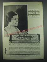 1930 Wrigley's Double Mint Chewing Gum Ad - An old beauty secret