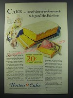1930 Hostess Cake Ad - Cake doesn't have to be home-made to be good, Mrs. Hale