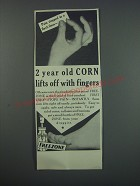 1930 Freezone Corn Remover Ad - 2 year old corn lifts off with fingers