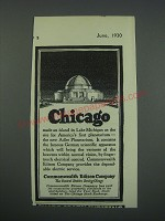 1930 Commonwealth Edison Company Ad - Chicago made an island in Lake Michigan