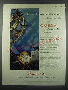 1957 Omega Seamaster Automatic Ad - To men who want the finest watch