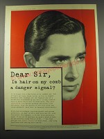 1957 Brylcreem Hairdressing Ad - Dear Sir, Is hair on my comb a danger signal?