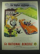1957 National Benzole Petrol Ad - For higher smileage
