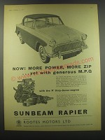 1957 Sunbeam Rapier Ad - Now! More power, more zip ..yet with generous M.P.G.