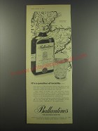 1957 Ballantine's Scotch Ad - It's a question of locality