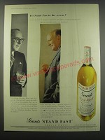 1957 Grants Stand Fast Scotch Ad - It's Stand Fast to the rescue