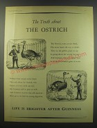 1957 Guinness Beer Ad - The Truth about the Ostrich