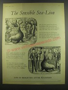 1957 Guinness Beer Ad - The sensible sea-lion