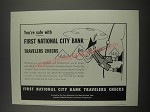 1957 First National City Bank Travelers Checks Ad - You're safe with First
