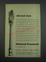 1957 National Provincial Bank Ad - Abroad view