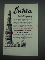 1957 Government of India Tourist Office Ad - India ..Land of Pageantry