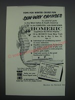 1957 Home Lines Cruises Ad - Tops for winter cruise fun sun-way cruises