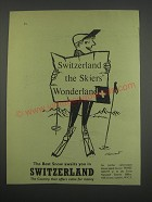 1955 Switzerland Tourism Ad - Switzerland the Skiers Wonderland