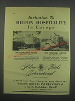 1955 Castellana Hilton and Istanbul Hilton Hotels Ad - Invitation to Hilton