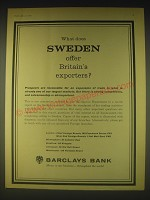1962 Barclays Bank Ad - What does Sweden offer Britain's exporters?