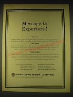 1962 Barclays Bank Ad - Message to Exporters