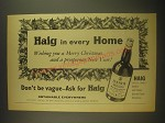 1962 Haig Scotch Ad - Haig in every Home Wishing you a Merry Christmas