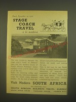 1962 South African Railways Travel Bureau Ad - Stage Coach Travel a la moderne