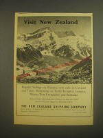 1962 The New Zealand Shipping Company Ad - Visit New Zealand Southern Alps