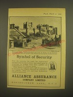 1962 Alliance Assurance Company Limited Ad - Bamburgh Castle, Northumberland