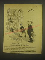 1962 American Express Travellers Cheques Ad - cartoon by Timothy Birdsall