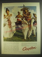 1958 Ceylon Tourism Ad - Welcome to the world's island paradise