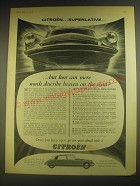 1958 Citroen D.S.19 Car Ad - Citroen.. Superlative.. ..but how can mere words