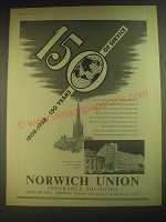 1958 Norwich Union Insurance Ad - 1808-1958 - 150 years of service