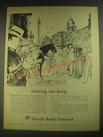 1958 Lloyds Bank Ad - Earning our keep
