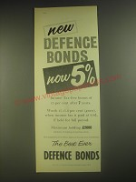 1958 National Savings Committee Defence Bonds Ad - New defence bonds now 5%
