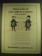 1958 Guinness Beer Ad - Along a bar at over 1,000 ft. a second