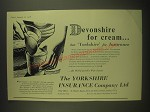 1958 Yorkshire Insurance Ad - Devonshire for cream but Yorkshire for insurance