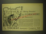 1958 Yorkshire Insurance Ad - Suffolk for Bishop Barnaby