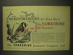 1958 Yorkshire Insurance Ad - Herefordshire for King Harry